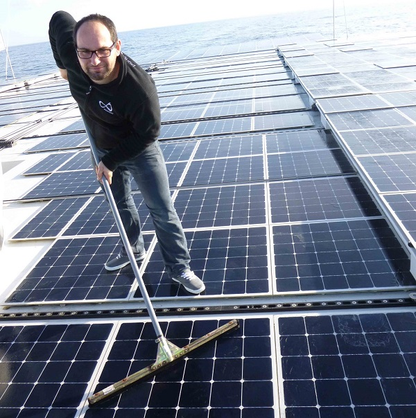 Swabbing the decks takes on slightly different meaning aboard this boat. (image via PlanetSolar)
