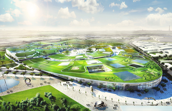 The Europacity is basically and entire town with a green roof. Image via BIG Architects.
