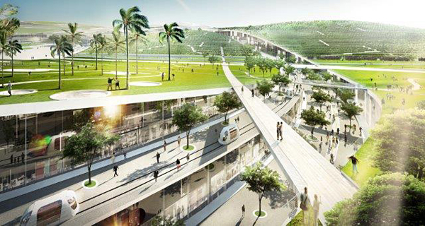 Slicing through the roof are several pedestrian and mass transit corridors. Image via BIG Architects.