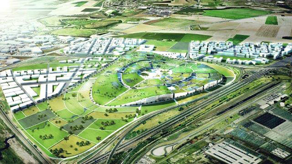Aerial artist's rendering of proposed city. Image via BIG Architects.