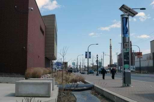 A solar- and wind-powered energy station and a bioswale are seen on West Cermak Street in Chicago. Image via Phys.org.