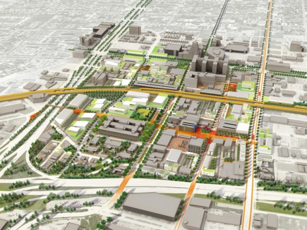 Aerial view of what the 149-acre complex might look like in Midtown Detroit. Image via Sasaki Associates.