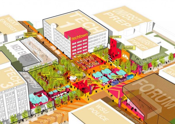 Artist's rendering of the plan for Innovation Square. Image via Sasaki Associates.
