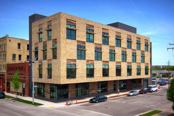 Built on a brownfield site, Milwaukee's Clock Shadow Building has been built to Living Building Challenge standards. Image via Continuum Architects + Planners.