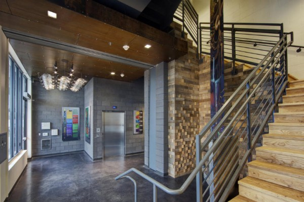 Much of the Clock Shadow Building's interior is made of recycled or reclaimed materials. Image via Continuum Architects + Planners.