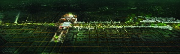 A nighttime view of what the nearly two-mile-long project will look like. Image via Jordi Henrich I Monràs.
