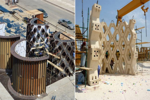 A series of forms (left) created pre-cast concrete sections (right) that make up the nearly 200-foot-tall spire. Image via Urban Art Projects.