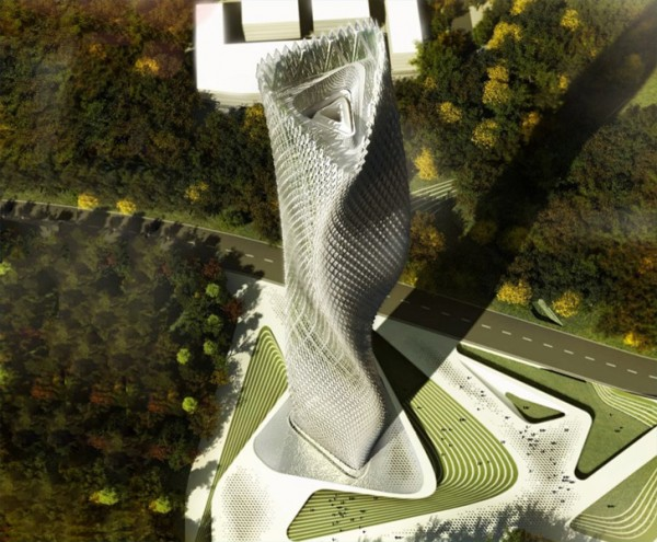 This twisting, undulating Taiwan skyscraper design is to be powered by hundreds of wind turbines embedded in its facade. Image via Decode Urbanism Office.