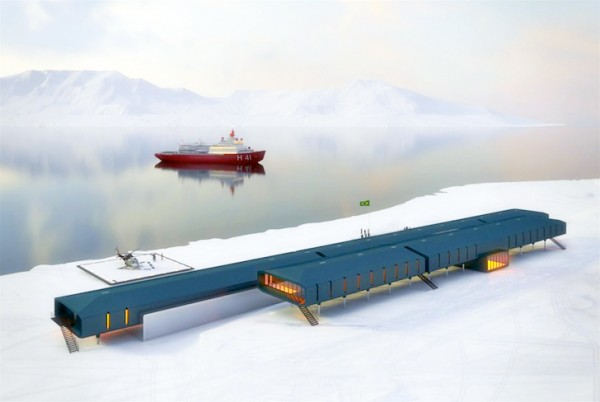 Estudio41's Antarctic station design will rely on solar and wind power to withstand the harsh weather conditions. Image via Estudio41.