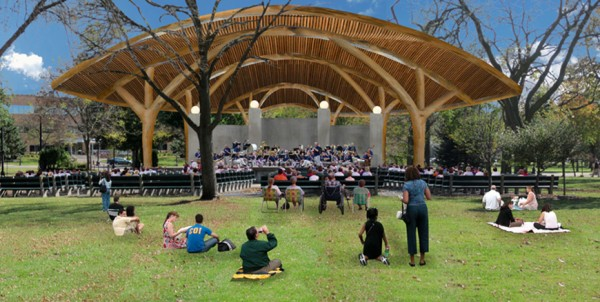 Artist's concept of the proposed round-wood Riverside Bandshell for LaCrosse, Wis. Image via WholeTrees Architecture & Structures.