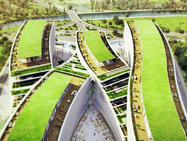 Green roofs cover the zigzag shape of the new Kagithne Gardens complex. Image via JDS Architects.