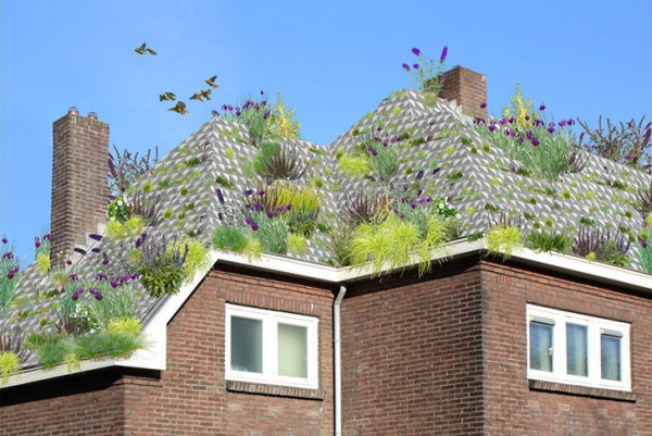 Artist's conception of how the Roel de Boer system can be applied to an existing sloped roof. Image via Roel de Boer.