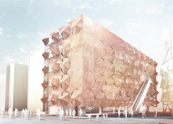 Artist's conception of the new sun-shade cladding on Shanghai's Madrid Pavilion. Image via 3Gatti Architecture Studio.
