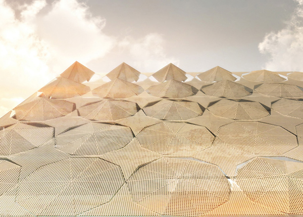 Detail showing the sun shades in various stages of deployment. Image via 3Gatti Architecture Studio.