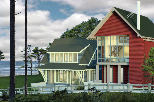 An artist's rendering of one Seabrook's completed Idea Town homes on the Washington Coast. Image via Seabrook.