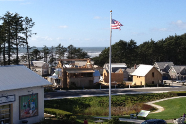 The Idea Town currently under construction, as seen from Seabrook's retail district. Image via Seabrook.