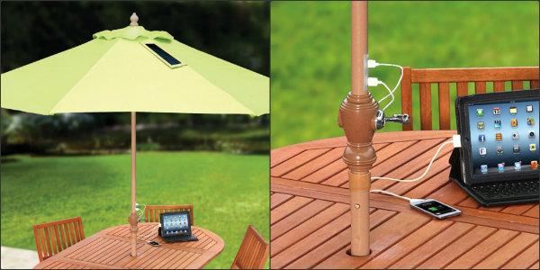 Hammacher solar charging parasol