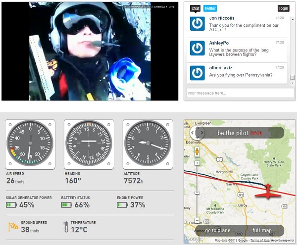 Screen grab of the Solar Impulse live streaming page, two hours into the Bay Area-Phoenix trip