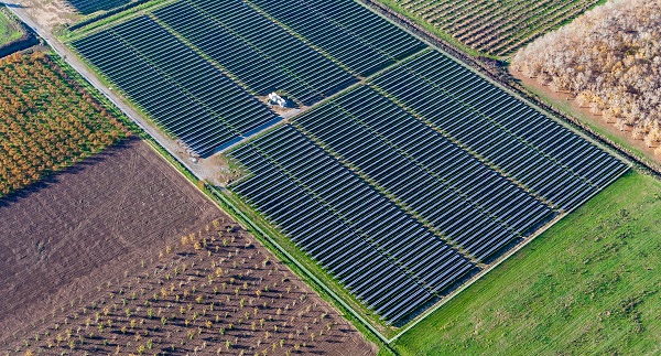 One of the new big solar projects that came online in April was this one in Gridley, Calif. (image via Blue Oak Energy)