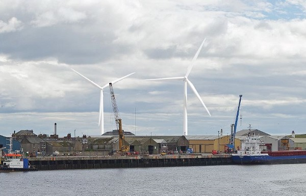 Illustration of proposed wind turbines at the Montrose, Scotland, facility (image via GlaxoSmithKline)