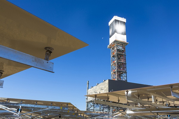 "The top of Tower 1 is ""lit"" during a steam blow test. (image via BrightSource Energy)"