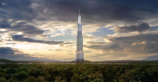 A view of the planned 2,750-foot-tall SkyCity as it would look on its proposed site. Image via Broad Sustainable Building.