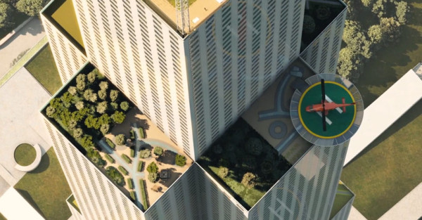 Some of the green roof terraces that are planned for the SkyCity tower. Image via Broad Sustainable Building.