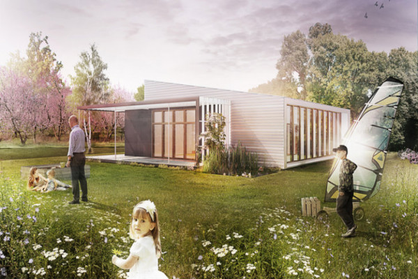 The Upcycle House prototype can be built quickly for a price of just $175,000. Image via Lendager Architects.