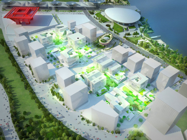 The 538,000-square-foot site of the 2010 Expo will soon be transformed into a sustainable business and entertainment district. Image via Schmidt Hammer Lassen Architects.