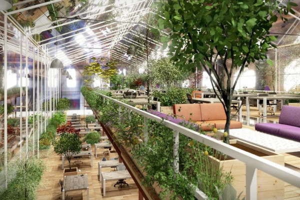 The Crystal Forest concept makes extensive use of greenery in its adaptive reuse modules. Image via Except.