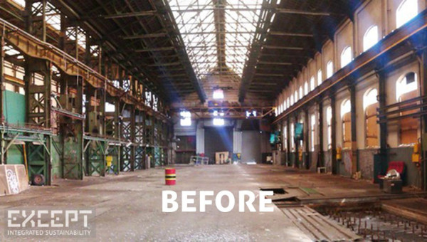 A photo of what the abandoned Amsterdam warehouse looked like before Except moved in. Image via Except.