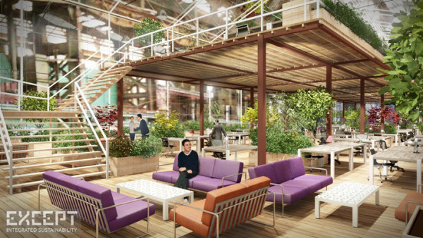 A conceptual view of the common meeting areas and mezzanine-level workstations available with the modular units. Image via Except.