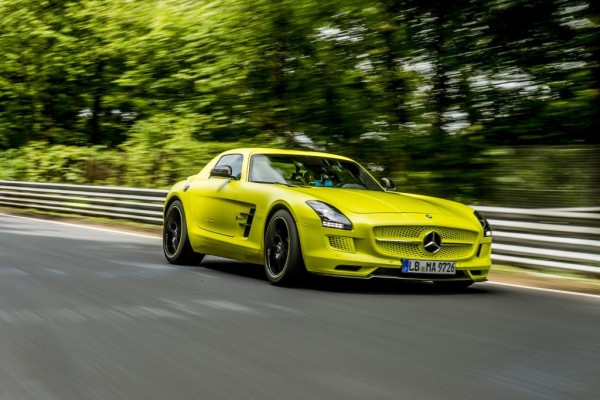 "Mercedes-AMG establishes lap record in the ""Grüne Hölle"": SLS AMG Coupé Electric Drive masters Nordschleife in 7:56.234 minutes. (image via Daimler)"