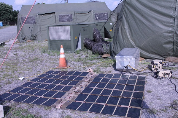 Reusing Existing Natural Energy, Wind & Solar system, or RENEWS, offers options; solar was preferred in this case to charge the six-pack of batteries during the day. (image via U.S. Army/Edric V Thompson)