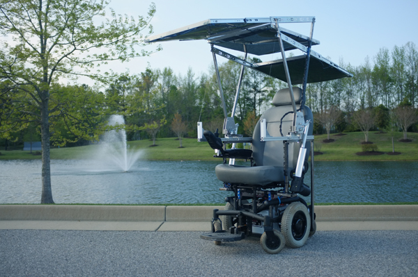 The team's solar-powered wheelchair includes solar panels that are easily deployed and stored, providing nearly unlimited range at low speeds. (image via University of Virginia)