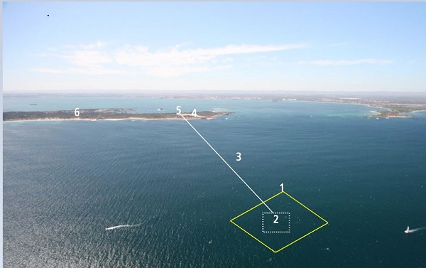 Site of the planned project, with a submerged array (2) sending pressurized water to shore (4,5) via subsea pipeline. (image via Carnegie Wave Energy)