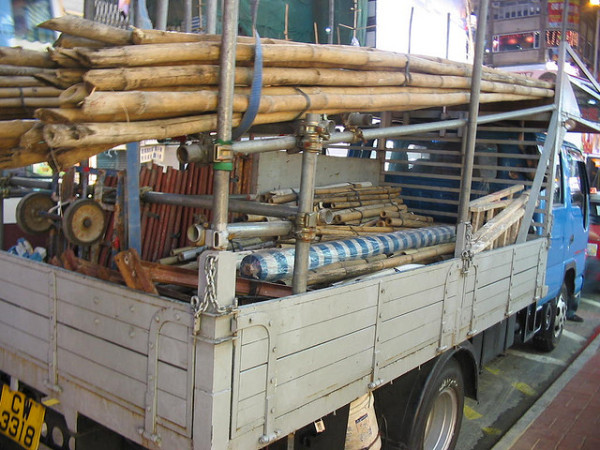 construction truck with bamboo