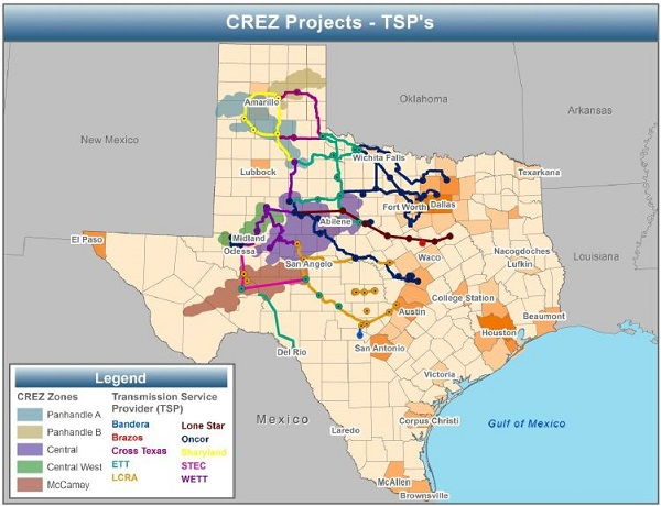 New transmission to move wind energy to the cities (image via Texas PUC)