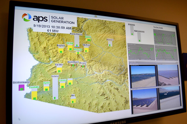 Monitors in what APS calls the Solar Room include a map of plants around Arizona and video feeds on individual plants. (image via Cronkite News)