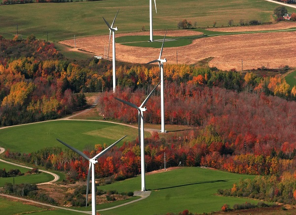 Maple Ridge Wind Farm, Lowville. N.Y. Image via EDP Renewables, which will build a 250-megawatt wind farm in Maine, with power going to Connecticut utilities.