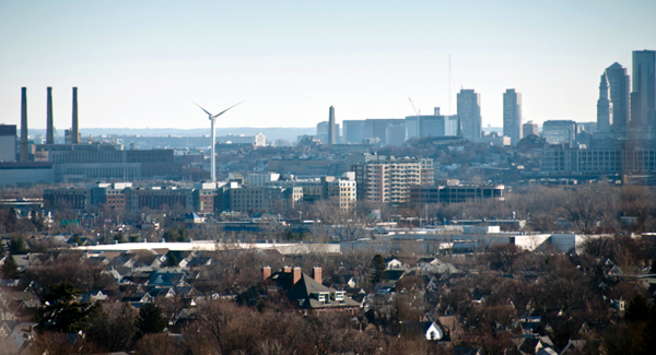 Boston's first commerical wind tower within city limits. This turbine helps the Local 103 of the International Brotherhood of Electrical Workers become familiar with wind power while displaying wind power to thousands of commuters. (image via EcoWatch)