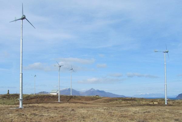 The island got six 5-kW wind turbines (images via Wind & Sun)