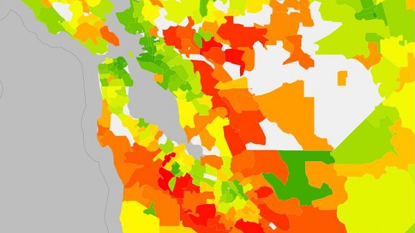 Get out into the Bay Area's suburbs, and emissions intensity increases. (image via UC Berkeley Carbon Maps)
