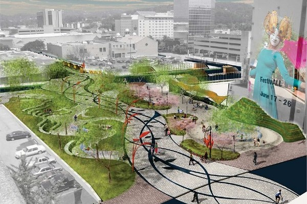 The envisioned Slack Plaza (image via Greening America's Capitals)