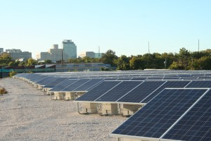 Photovoltaic panels at Soltage-Greenwood's 2MW ground-mounted solar array in Wilmington, DE
