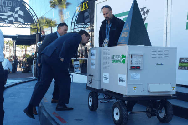 At this year's Daytona 500, four fuel cell generators will power some of the broadcast cameras and spotlights, demonstrating how the technology could help NASCAR save money on fuel costs. This technology was beta-tested during the IMSA Rolex 24 race weekend last month. (image via P.T. Jones, Oak Ridge National Lab)