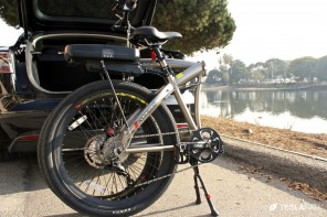 Full Size Folding Electric Bike in a Tesl