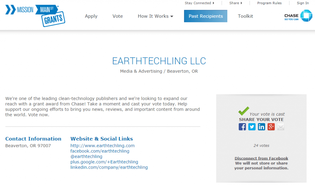 Mission Main Street Grant Page for EarthTechling