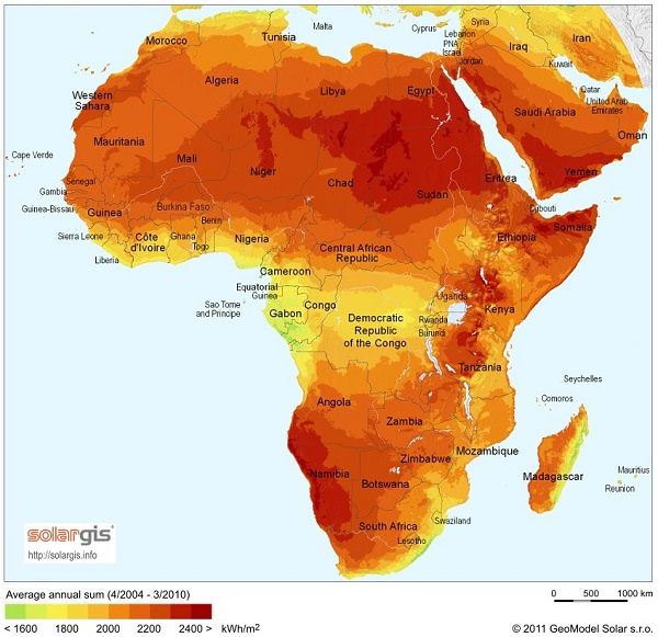 """SolarGIS-Solar-map-Africa-and-Middle-East-en"" by SolarGIS © 2011 GeoModel Solar s.r.o.. Licensed under CC BY-SA 3.0 via Wikimedia Commons"
