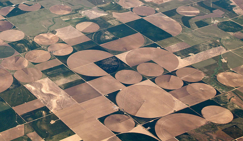 Aerial view of center-pivot irrigation